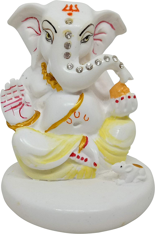 Indian Handicrafts Paradise Lord Ganesha Vinayaka Idol for Car Dashboard, Home Decor, White Marble God Ganesh Ganpati Statue (Small)