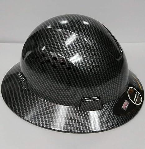 TRUECREST Hydro Dipped Black Full Brim Hard Hat with Fas-trac Suspension