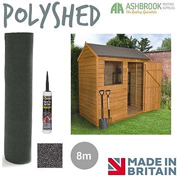 Poly cobertizo caseta de fieltro de techo | negro mineral fieltro | libre adhesivo | poliéster reforzada | 8 M: Amazon.es: Jardín