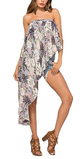 Bikini Cover Up Mujer Elegante Verano Tamaño Largo Delantero Corto Bandeau Blusas Niñas Ropa Impresión Floral