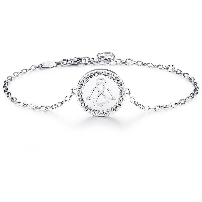 AmorAime 925 Sterling Silver Sweet Guardian Angel Blessing Bracelet Charm Adjustable Bracelet for Women Mother's Day Gift