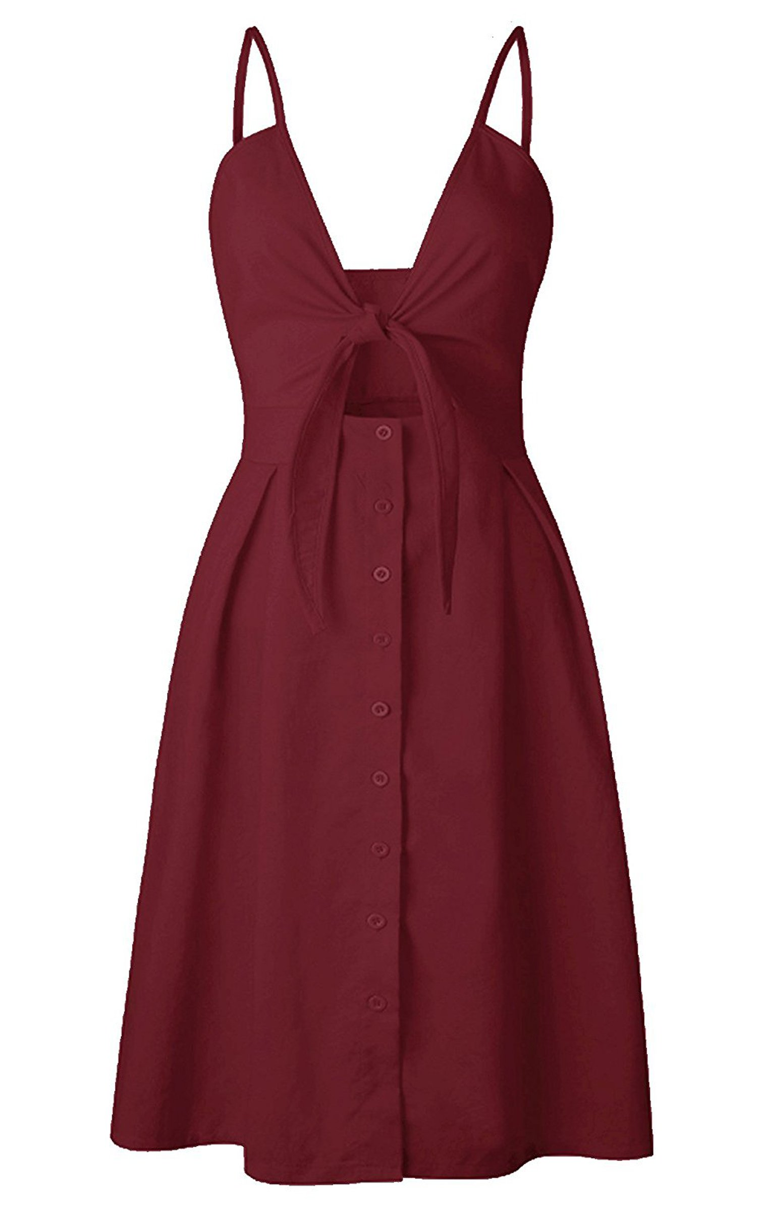 2e7150d241c ECOWISH Womens Dresses Summer Tie Front V-Neck Spaghetti Strap Button Down  A-Line Backless Swing Midi Dress Wine Red S - EH572 WR S   Casual   Clothing
