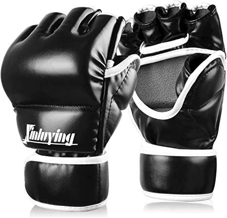 MMA Grappling Mittens PU Breathable Half Finger Punching Bag Boxing Gloves