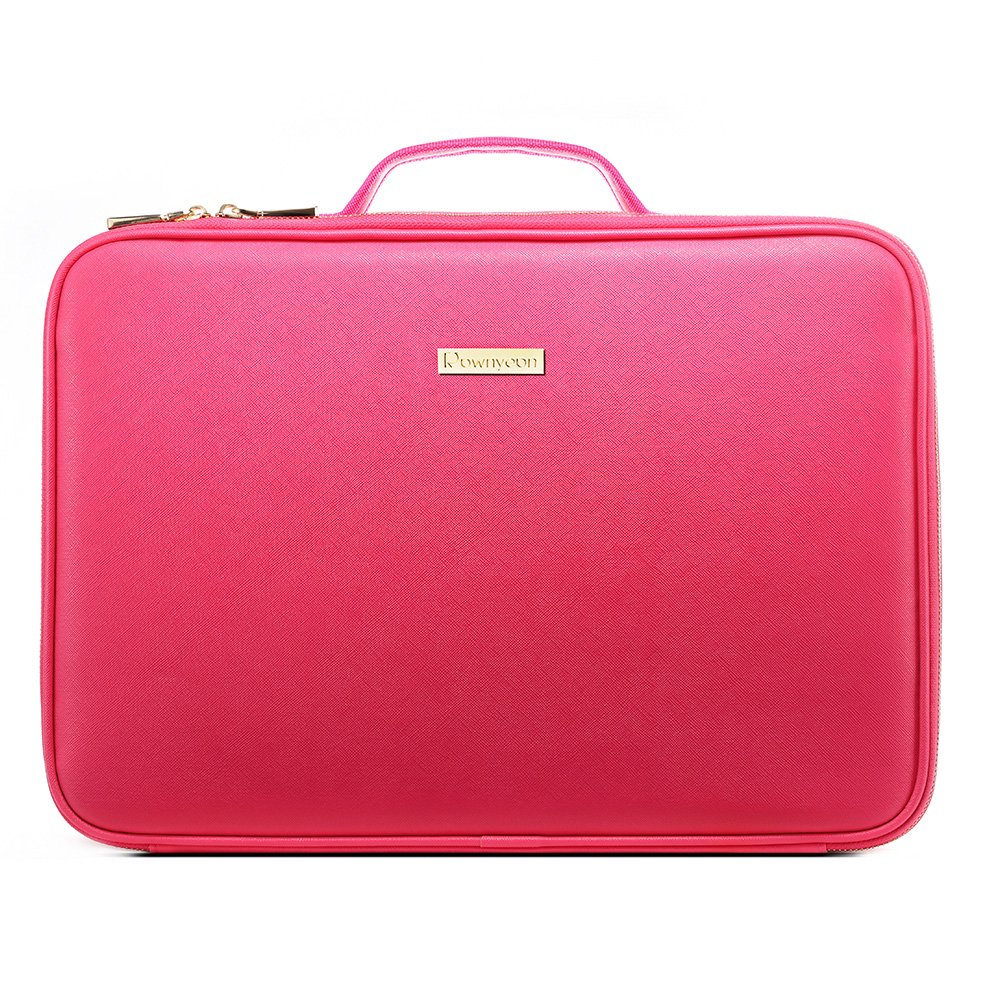 [Gifts for women] ROWNYEON PU Leather Makeup Bag Professional Makeup Organizers Bag Portable Travel Makeup Case EVA Makeup Train Case Best Gift for Girl (Pink Medium) R-MEI202