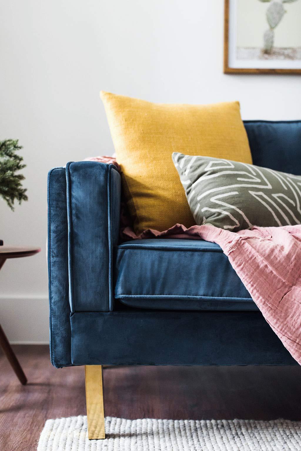 Stupendous Edloe Finch Midcentury Modern Lexington Blue Velvet Sofa 87 Bralicious Painted Fabric Chair Ideas Braliciousco