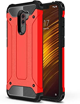 AOBOK Funda Xiaomi Pocophone F1, Rojo Moda Armadura Híbrida ...