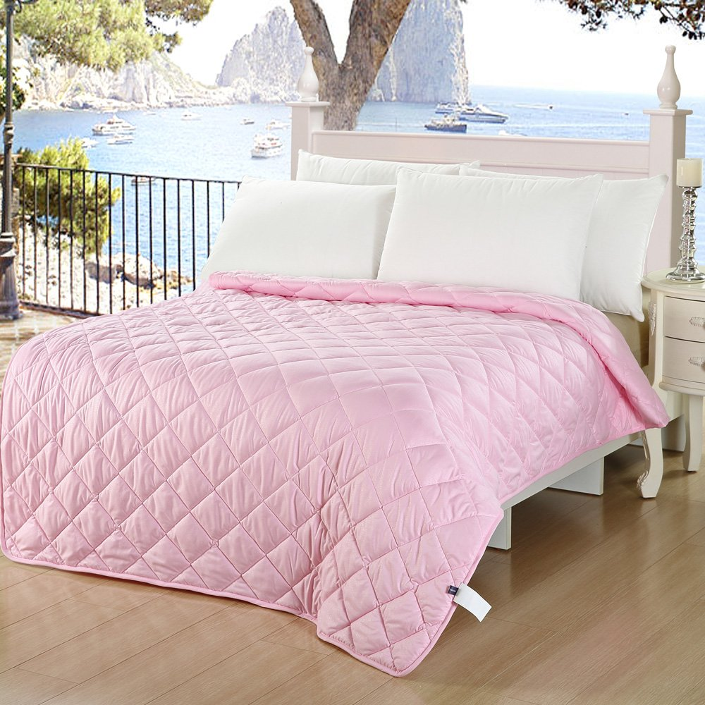 Naturety Thin Comforter for Summer,Light Weight Filled twin, pink