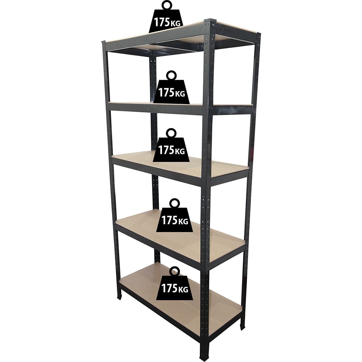 1 8m 5 tier heavy duty metal shelving unit industrial boltless shelves storage amazon co uk diy tools