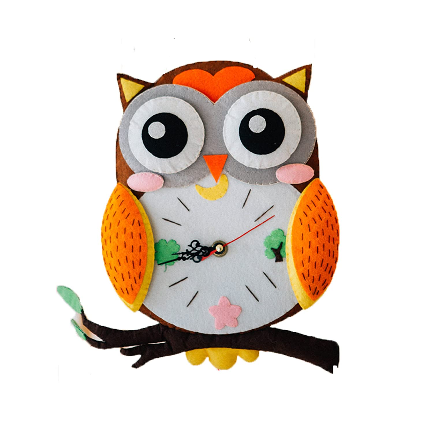 DOER Edutainment Sewing Kit for Beginners – DIY Craft Nonwoven Clock for Adults– An Educational Fun Toy (Jungle Animals)