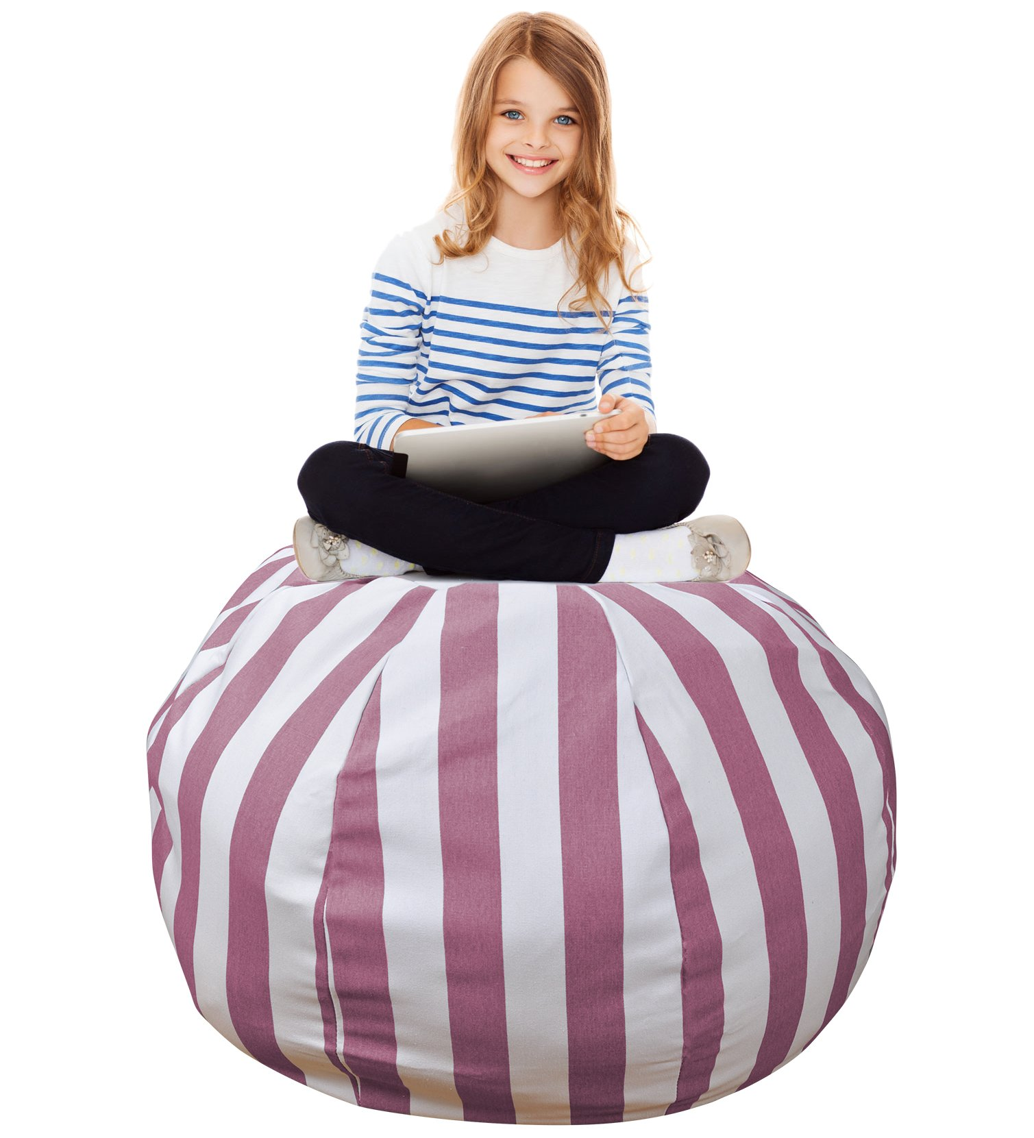 Stuffed Animal Storage Bean Bag –Extra Large Organization Sack Chair- Premium Quality Cotton Canvas- Easy Solution for Extra Toys / Blankets / Covers / Towels / Clothes -38 inches, Purple Striped by IBBM I WILL BE YOUR BEST MEMORY