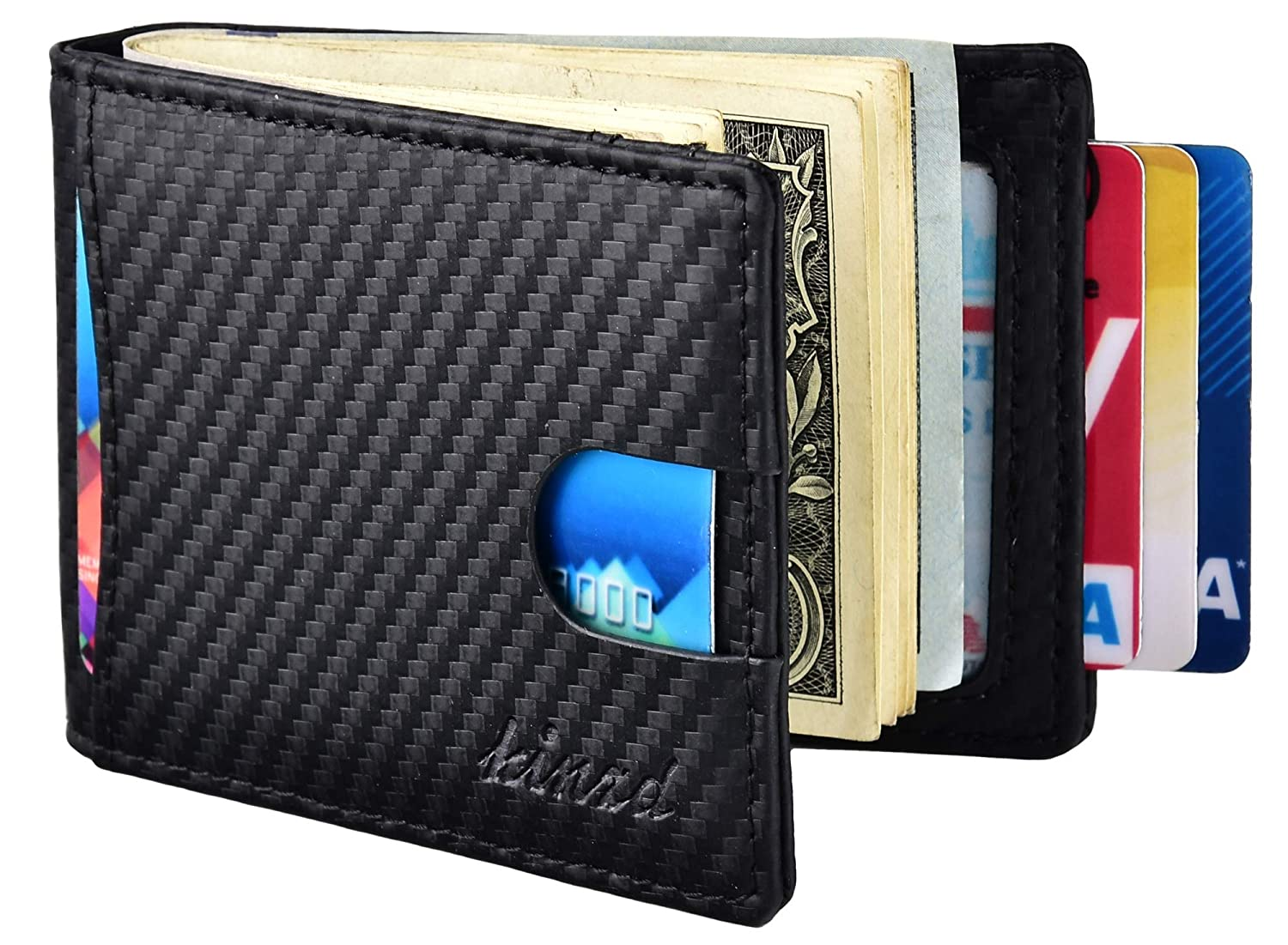 Kinzd Mens Slim Bifold Leather Front Pocket Wallet RFID Money Clip USD Version (Carbon Fiber Black) AS218-B