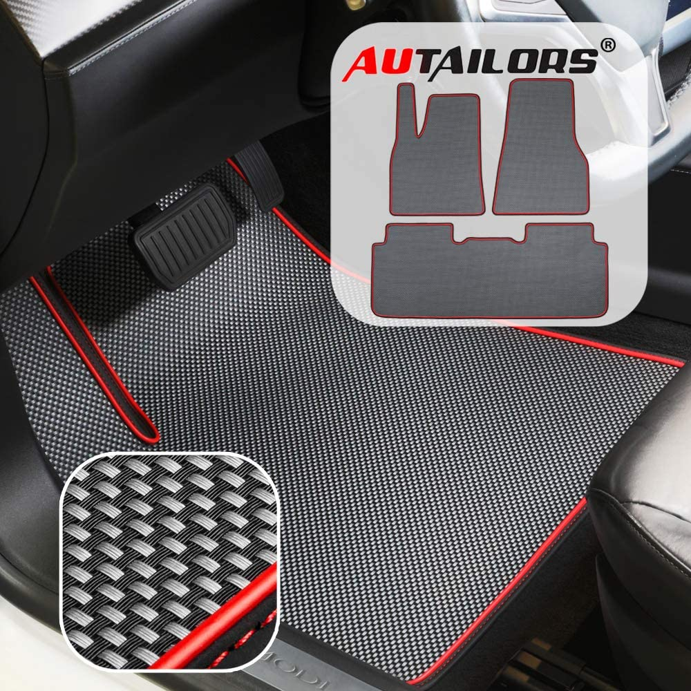 Waterproof Custom Fit Easy Instal for Tesla Model 3 Black Car Floor Mats Set Heavy Duty All Weather BMZX 3 PCS