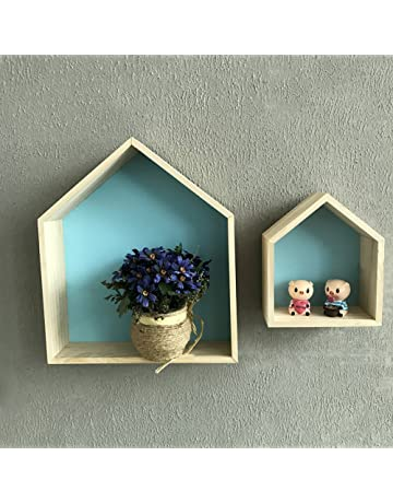 Pueri - Estantería de madera para colgar en la pared, silueta de casa, para