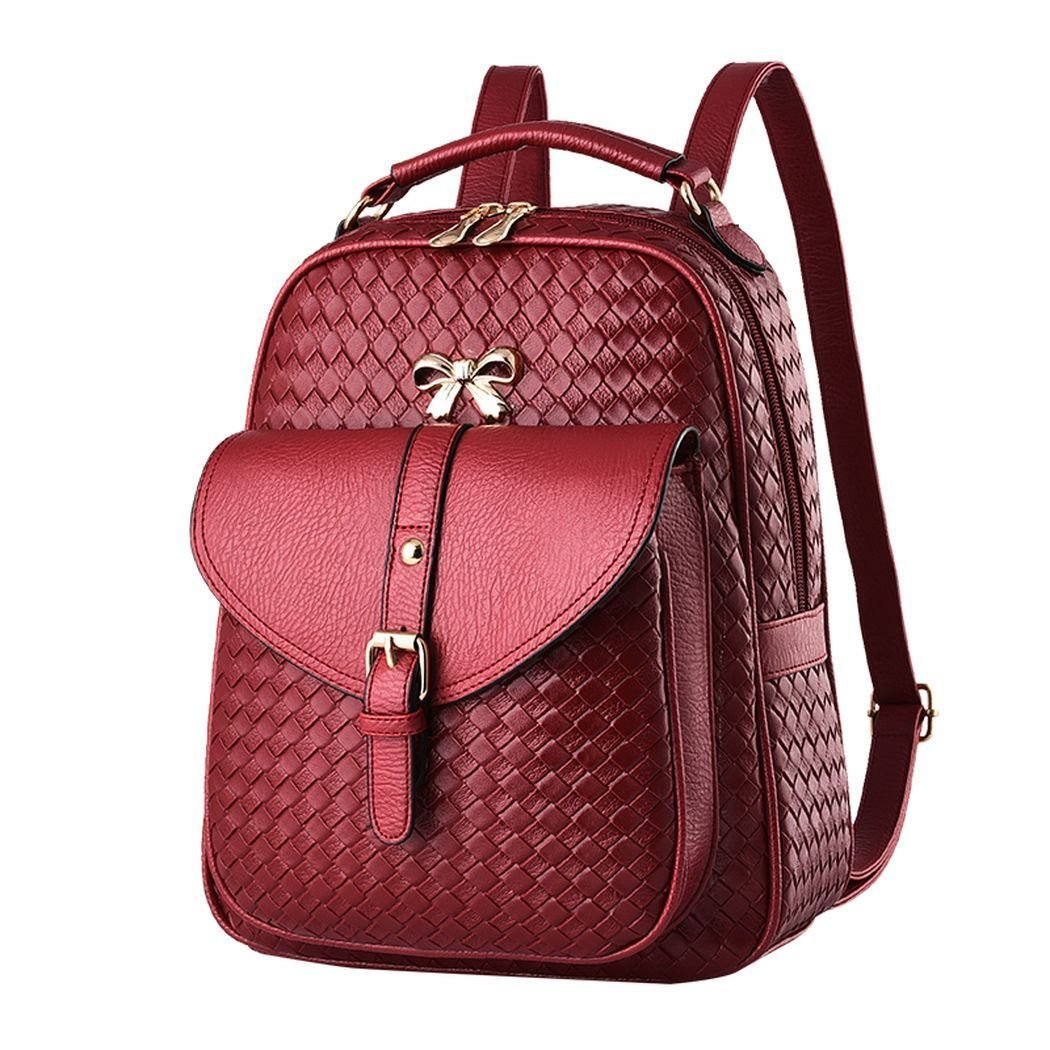 Amazon.com : Flake Rain Womens Graceful Lovely Bowknot Soft PU Leather Student Backpack Travelling Bag(Cured) : Baby
