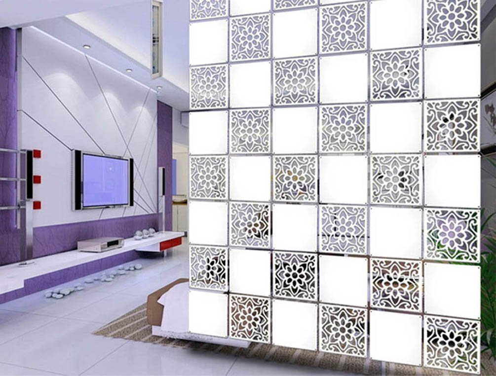 Lchen Hanging Room Divider, White Wood-Plastic Board&Cut Screen Panel for Living Room and Beding Room (BTT-M4L,15.3''X15.3'') by Lchen (Image #3)