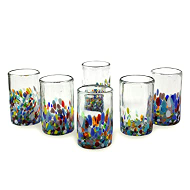 NOVICA Artisan Crafted Recycled Hand Blown Glass Water Glasses, Multicolor, 14 oz, Confetti' (set of 6)