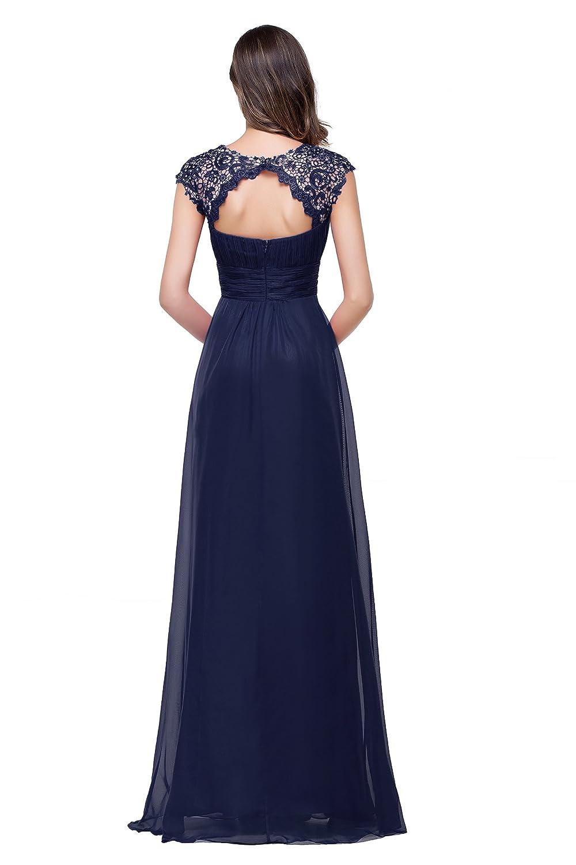 Babyonline® Beliebt Damen Lang Chiffon Abendkleider Ballkleid  Brautjunfernkleider Partykleider Cocktailkleider Dunkel Blau 40: Amazon.de:  Bekleidung
