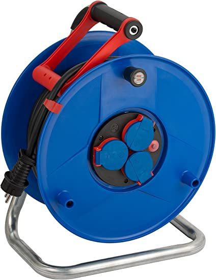 empty reel with ergonomic handle rust-proof Brennenstuhl Garant 3-way socket cable reel without extension cable