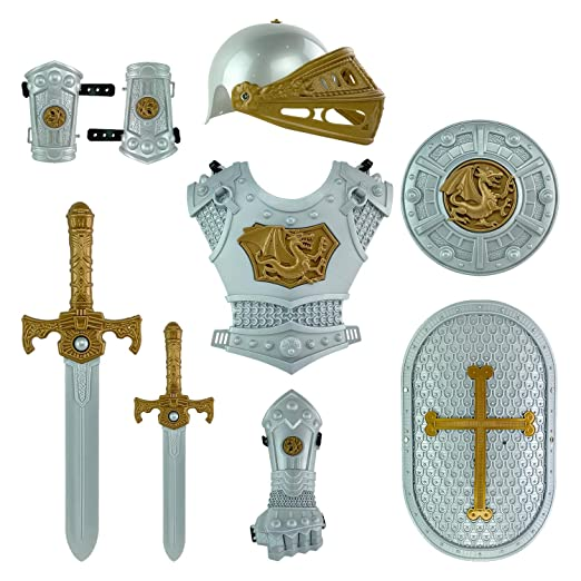 Medieval Knight in Shining Armor Pretend Role Play Plastic Toy Costume Set  with Weapons & Accessories Silver