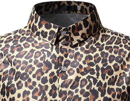 el Ocio Diario. Sylar Hombre Camisa Manga Corta Slim Fit Tops Moda Personalidad Leopardo Abotonar Camisa M-3XL,Adecuado para el Trabajo