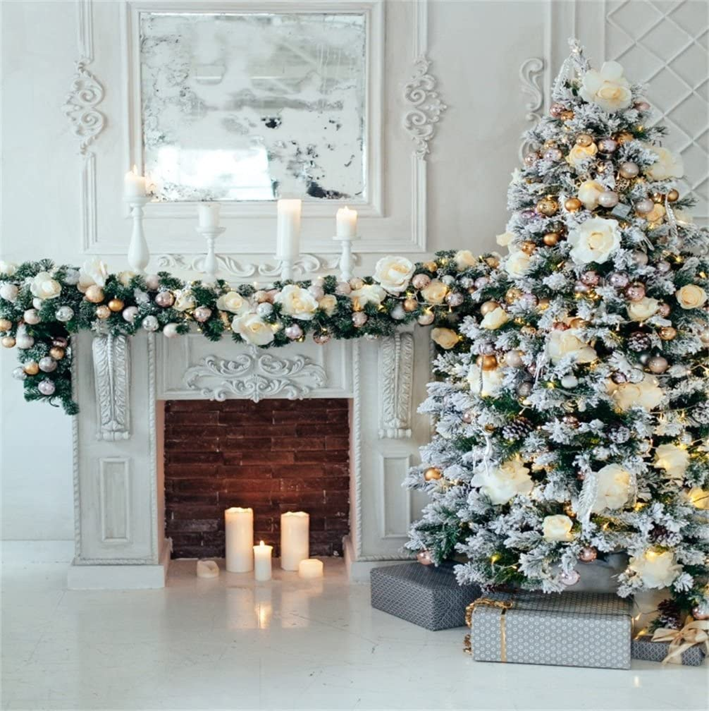 CdHBH 10x12ft Classical Interior Design Decoration Christmas Tree Photo Studio Photography Photo Photography Props Wallpaper Home Decoration Holiday Venue Party Layout Vinyl Material