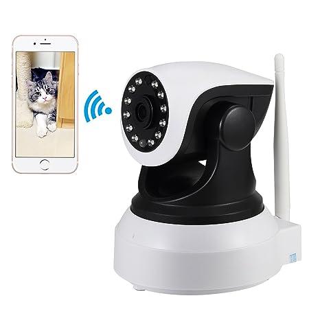 NexGadget IP Cámara HD WiFi de Vigilancia Interior Detección Movimiento Visión Nocturna P2P Compatible con iOS