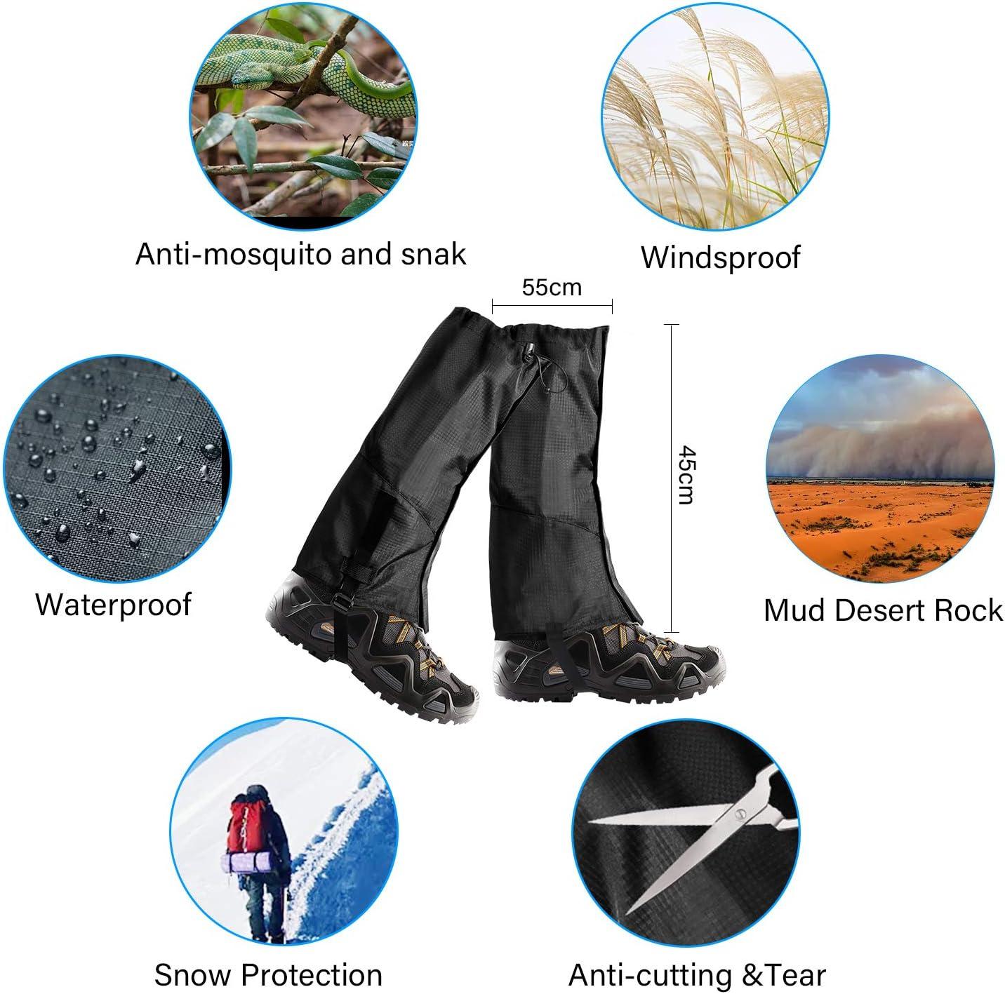 Schneewandern und Jagd Klettern,Trekking Shayson Outdoor Gamaschen /Übergro/ße und wasserdichte Gamaschen Einstellbare und Atmungsaktive Beinschutz Gaiter f/ür Outdoor-Hosen zum Wandern