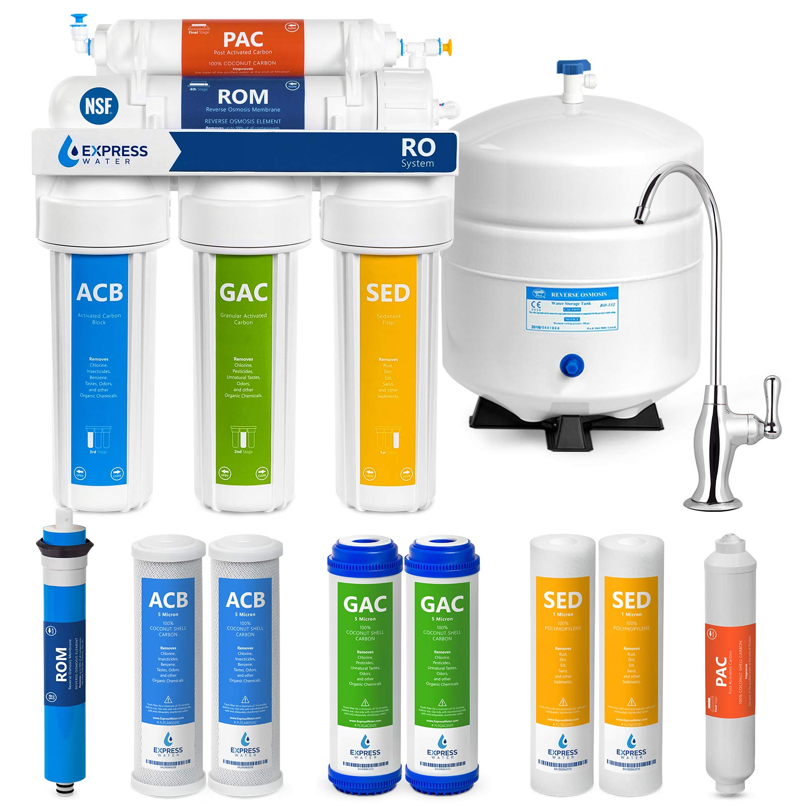 Express Water Reverse Osmosis Water Filtration System - NSF Certified 5 Stage RO Water Purifier with Faucet and Tank - Under Sink Water Filter - plus 4 Replacement Filters - 50 GPD by Express Water