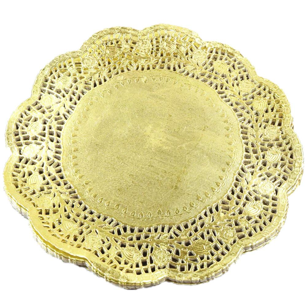 LoBake 10.5 inches golden round paper lace doilies cupcake placemats kitchen tabletop accessories 100 pieces per pack
