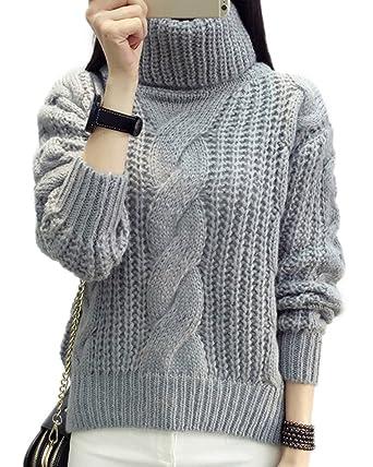 f0e278778843 Minetom Damen Winter Warmer Rollkragen Strickjacke Mohair Lose Pullover  Langarm Strickwaren Tops Sweater Grau One Size