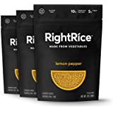 RightRice - Lemon Pepper (7oz. Pack of 3) - Made from Vegetables - High Protein, Vegan, non GMO, Gluten Free