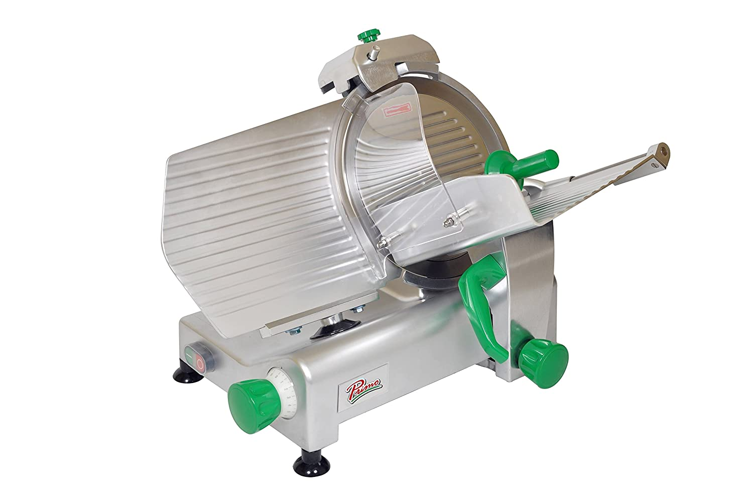 PRIMO PS-12 Anodized Aluminum Meat Slicer, Belt Drive Transmission, 12 Blade, 23-25 128 Width x 14-3 32 Height x 16-3 32 Depth