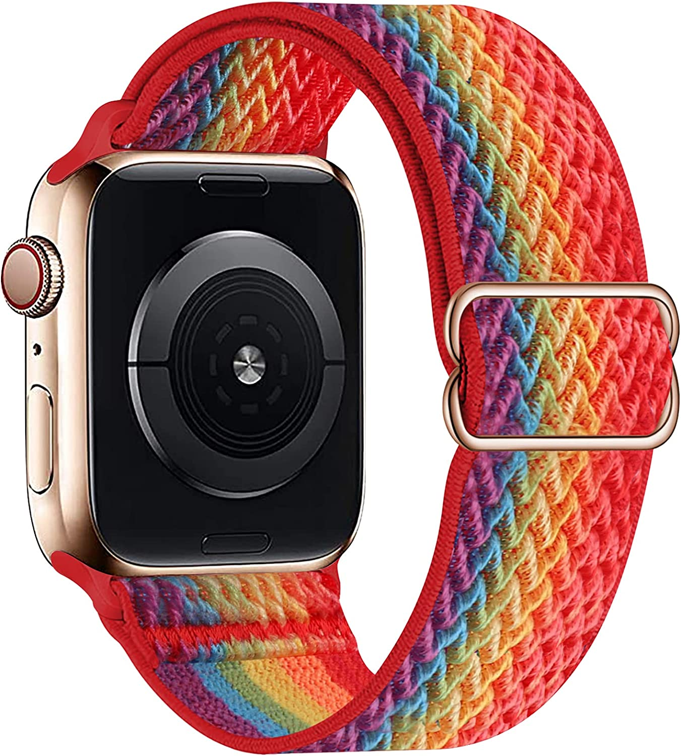 OHCBOOGIE Stretchy Solo Loop Strap Compatible with Apple Watch Bands 38mm 40mm 42mm 44mm ,Adjustable Stretch Braided Sport Elastics Weave Nylon Women Men Wristband Compatible with iWatch Series 6/5/4/3/2/1 SE,Colorful,38/40mm
