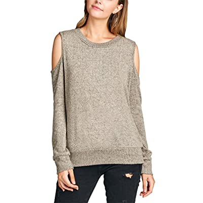 Olive K Women's Long Sleeve Cold Open Shoulder Sweater Top