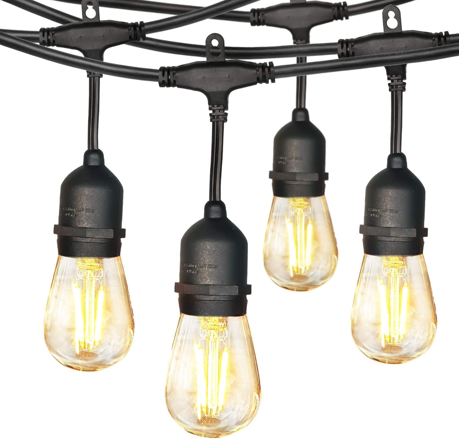 hykolity 24FT LED Outdoor String Lights with 8 x 2W Vintage Edison Bulbs(1 Spare), Connectable Ambience Backyard Hanging Patio Lights for Bistro Porch Pergola Gazebo Balcony Party Decor