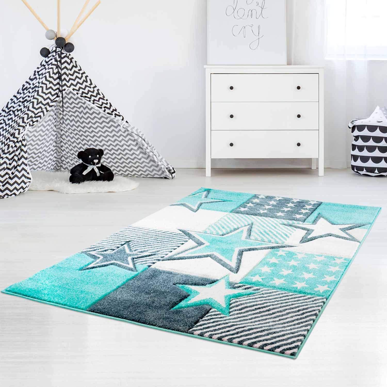 Carpet city Kinderteppich Hochwertig mit Sternen-Muster in Pastell-Türkis mit Konturenschnitt, Glanzgarn für Kinderzimmer Größe 200 290 cm