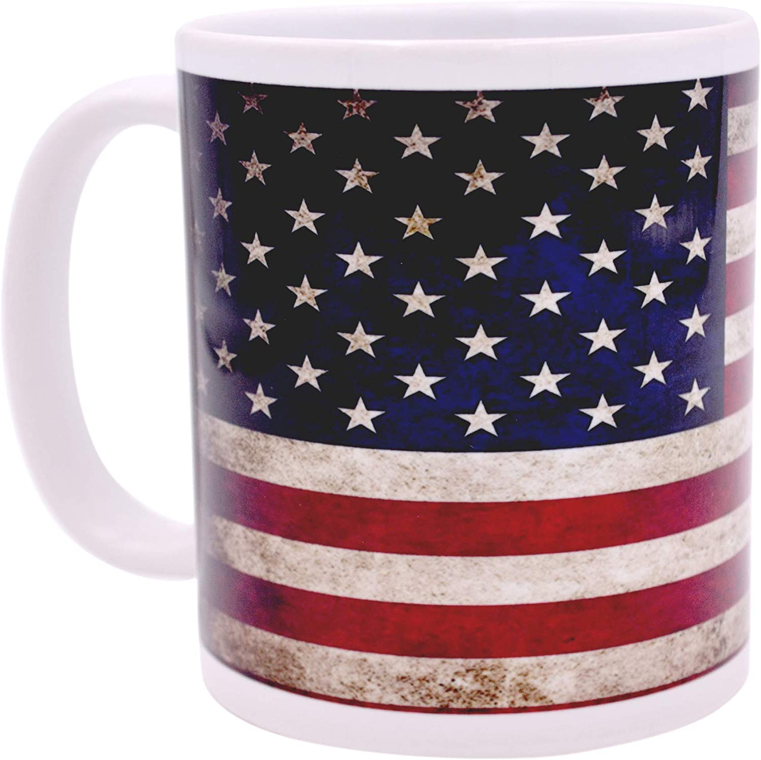 Amazon Com Patriotic Usa Flag Coffee Mug Novelty Cup Gift America Rustic Tattered Distressed United States Of America Kitchen Dining