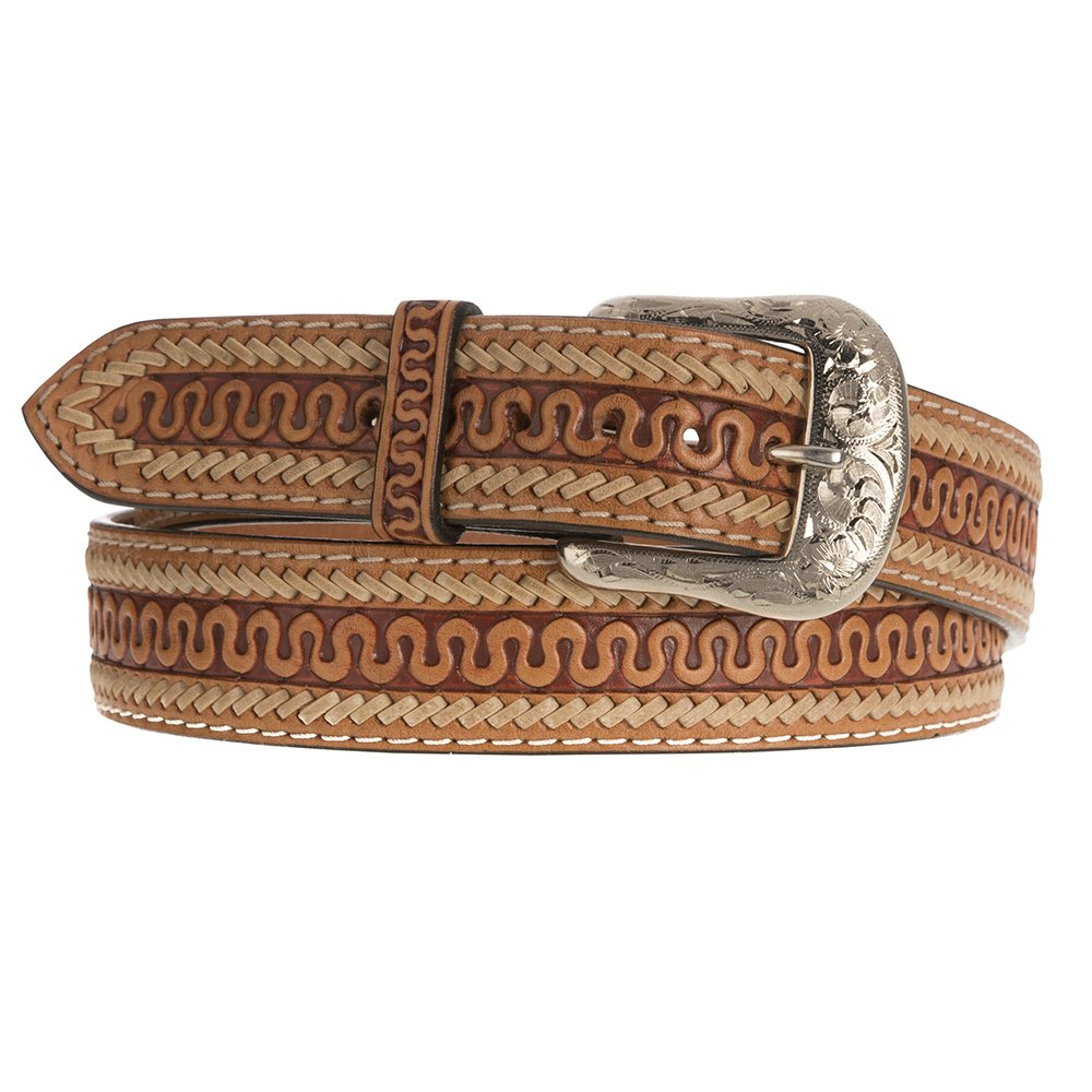 Western Fashion Accessories Mens Tan Serpent Tooled Belt
