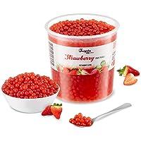 Popping Boba för bubbelté - Fruktpärlor, exploderande bubblor - 3.2 kg - jordgubbe - INGA konstgjorda färger - Mindre…
