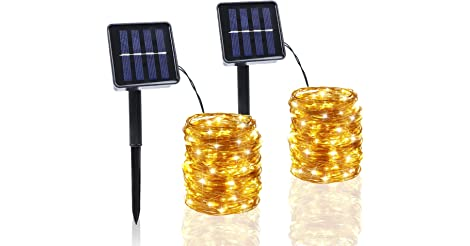 2-Pack BHCLIGHT 100-LED Waterproof Solar String Lights (Warm White) only $6.00
