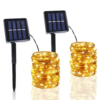 Amazon.com: Cadena de luces solares BHCLIGHT, 200 luces LED ...