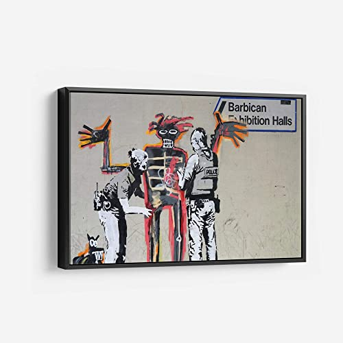 Banksy Install Basquiat Graffiti Canvas Art Wall Art Home Decor Gift 45in x 30in Modern Black Framed