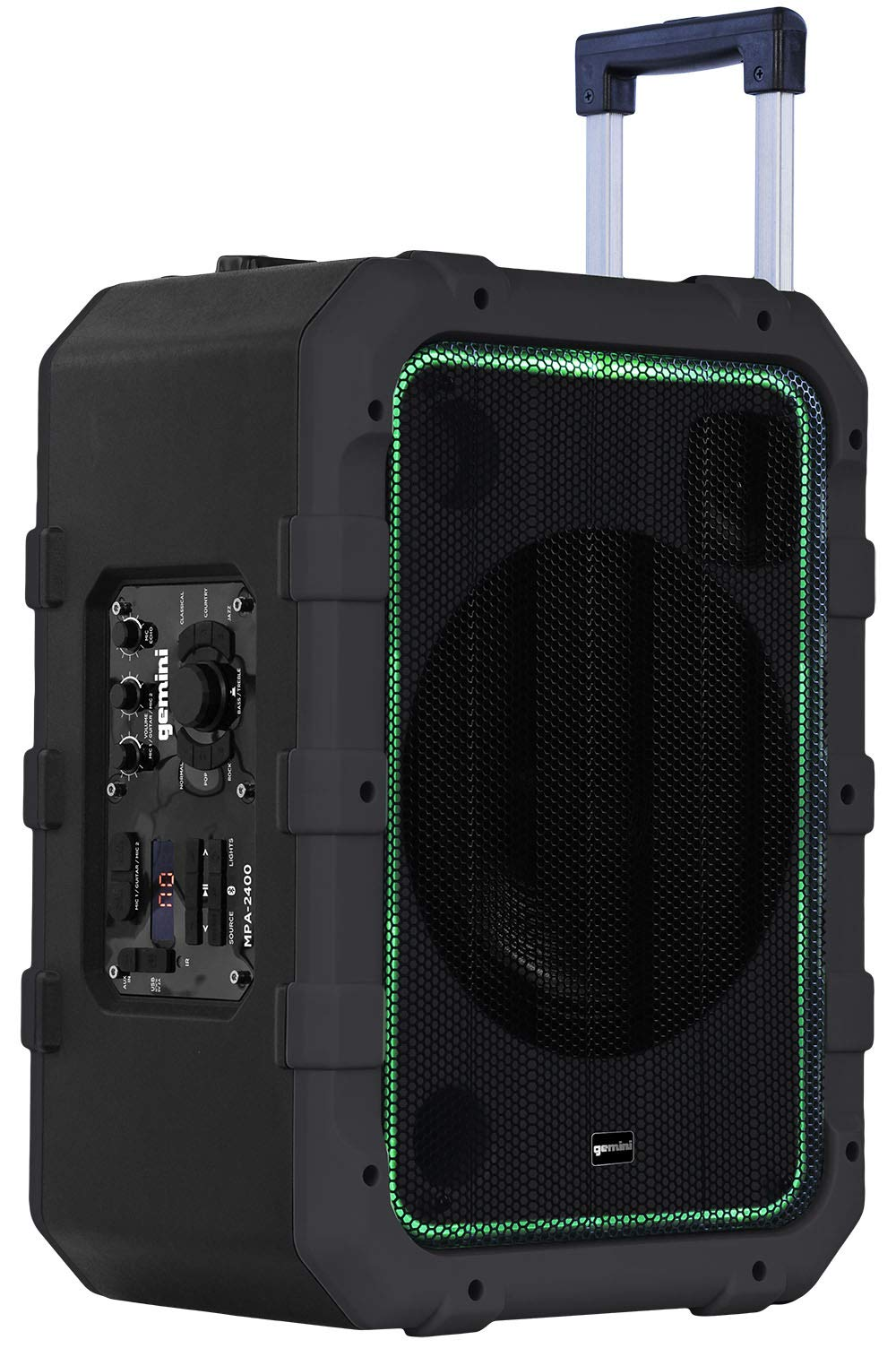 Gemini MPA-2400 10'' Rechargeable Weather-Resistant Trolley Speaker with Bluetooth, LED Light Show, 6 DSP Modes, Microphone and Guitar Inputs, 240W Peak Power, FM Radio and Up to 18 Hours Battery Life by Gemini
