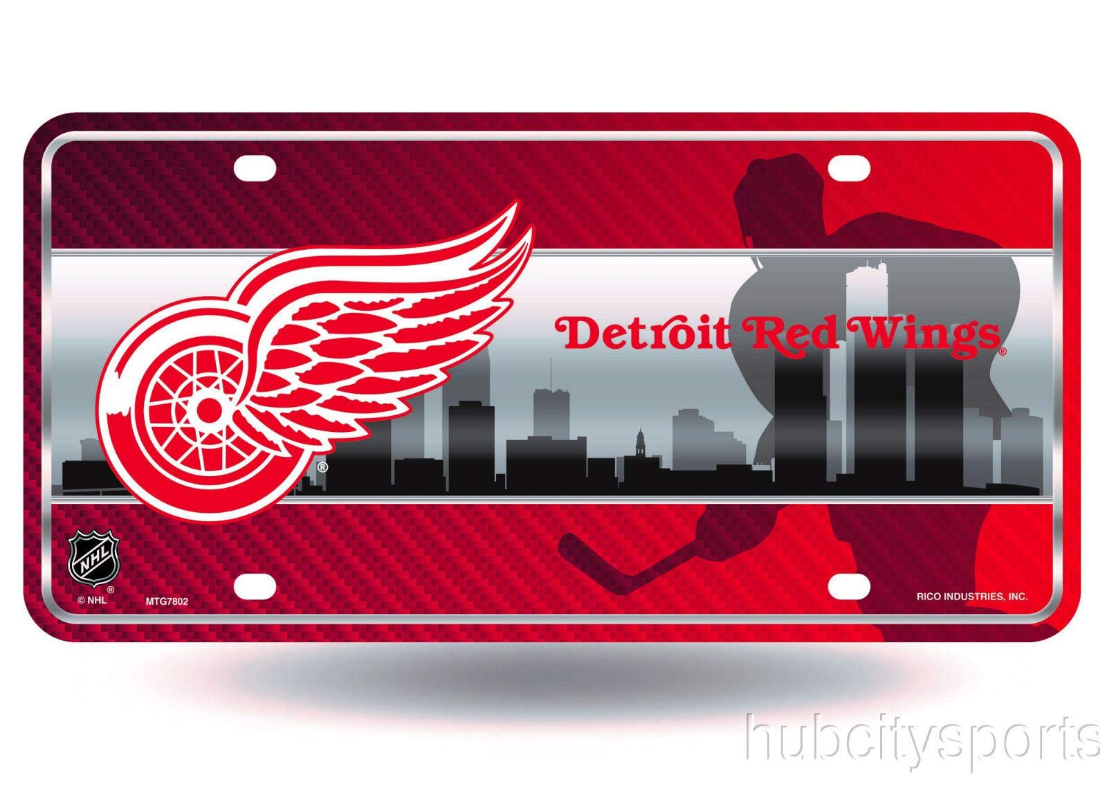 NHL Detroit Red Wings Metal License Plate Tag