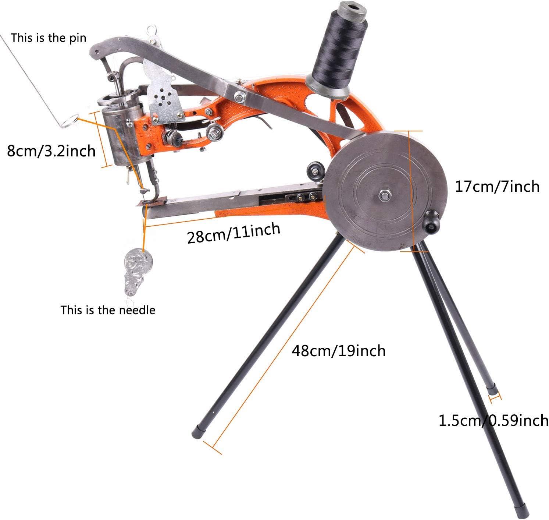 YUEWO DIY Shoe Repair Machine Manual Shoe Mending Sewing Machine Cobbler Shoe Repair Machine Cotton Nylon Line Sewing Machine Orange Machine