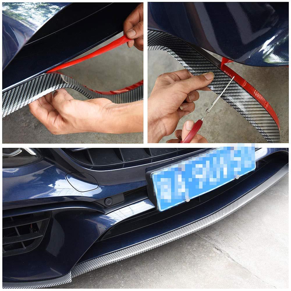 Fibra di carbonio Protezione Paraurti per Auto CoKu 2.5M Tronco auto Fai da te Paraurti in Gomma Spoiler Anteriore Divisore Labbro Striscia Protettiva Gonna Protettiva Auto Forte e Appiccicosa