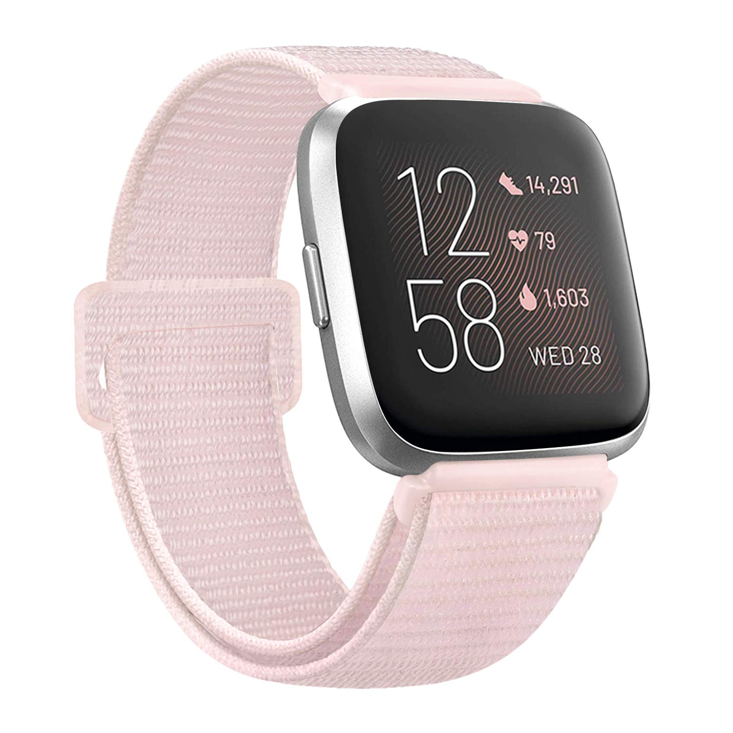 AK Nylon Bands Compatible with Fitbit Versa 2/ Versa Lite/Versa SE, Soft Replacement Wristband Sport Loop with Fastener Adjustable Closure for Women Men