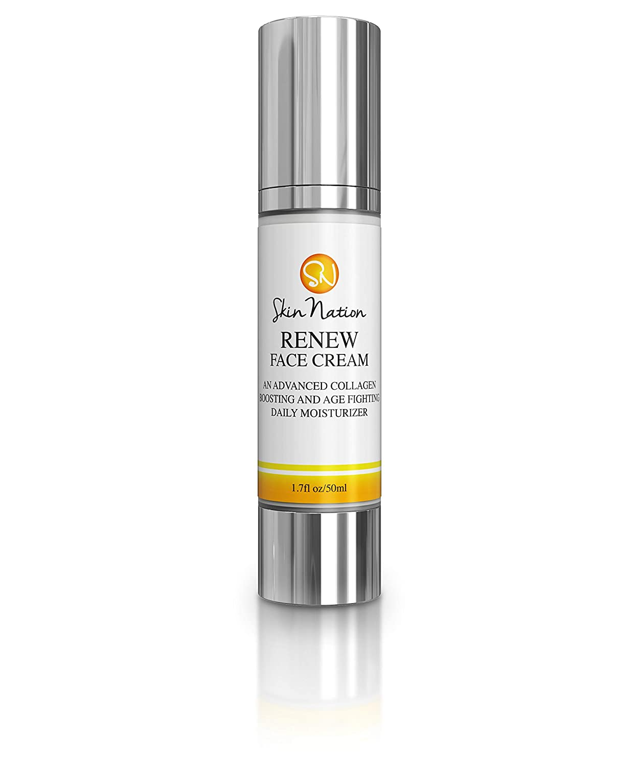 Renew Face Cream Daily Moisturizer   Anti Aging Cream for Face, Anti Wrinkle, Collagen Peptides   with Organic Natural Ingredients, Aloe Vera, Coconut Oil, Vitamin E   Skin Nation by Michelle Stafford
