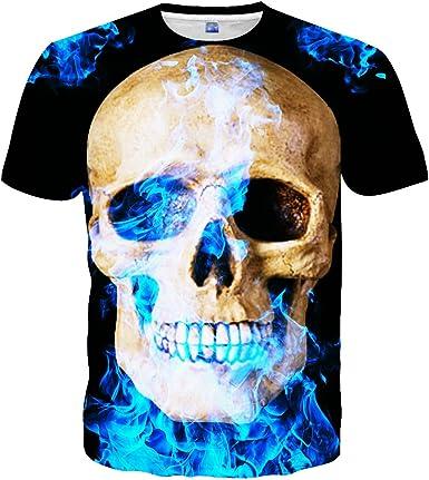 Accreate Men Women 3D Forest Stars Pattern Printing Short Sleeve T-Shirt