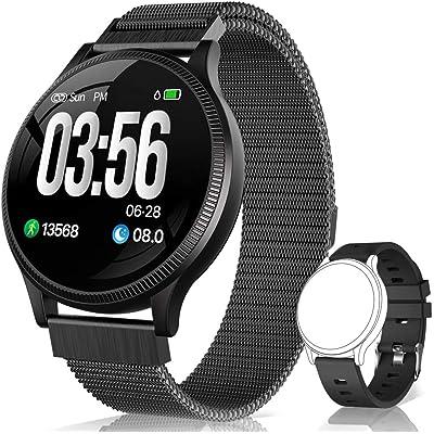 BANLVS Reloj Inteligente, Smartwatch IP67 1.22 Pulgadas Pulsómetro, Monitor de Sueño, Presión Arterial,Pulsera Actividad Inteligente para Android iOS Hombre y Mujer